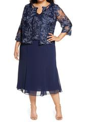 Alex Evenings Mock Jacket Midi Dress (Plus Size)
