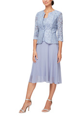 Alex Evenings Mock Two-Piece Lace Midi Cocktail Dress with Jacket