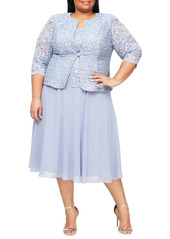 Alex Evenings Mock Two-Piece Lace Midi Cocktail Dress with Jacket (Plus Size)