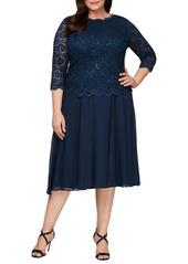 Alex Evenings Mock Two-Piece Midi Dress (Plus Size)