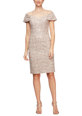 Alex Evenings Off the Shoulder Corded Embroidered Sheath Dress