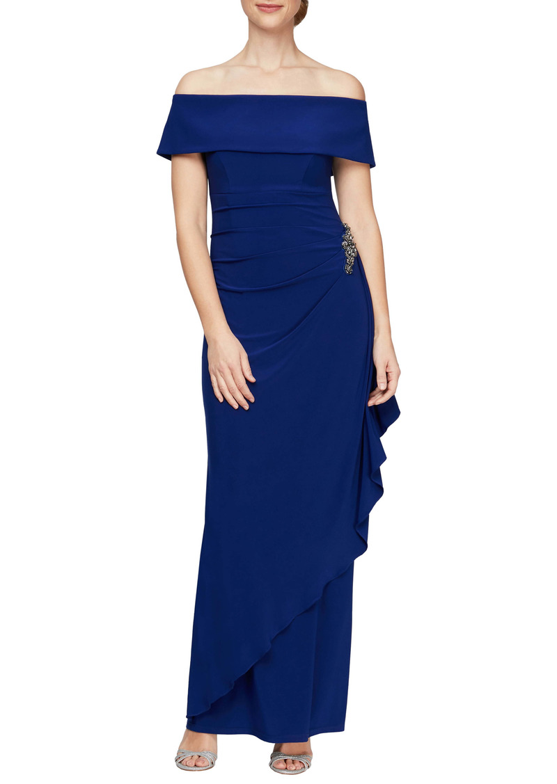Alex Evenings Off the Shoulder Embellished Column Gown