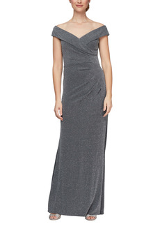 Alex Evenings Off the Shoulder Metallic Flare Gown