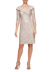 Alex Evenings Off the Shoulder Sequin Lace Sheath Dress