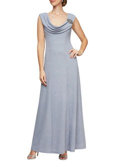 Alex Evenings Pleated Cowl Neck Gown