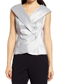 Alex Evenings Portrait Collar Faux Wrap Blouse