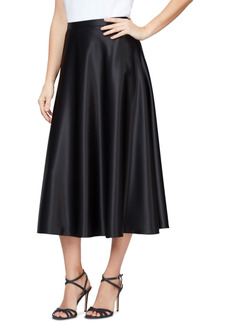 Alex Evenings Satin Midi Skirt