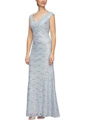 Alex Evenings Scallop Lace Evening Dress