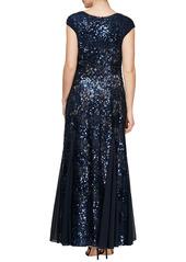 Alex Evenings Sequin & Lace A-Line Gown