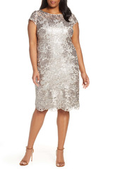 Alex Evenings Sequin Embroidered Cocktail Dress (Plus Size)
