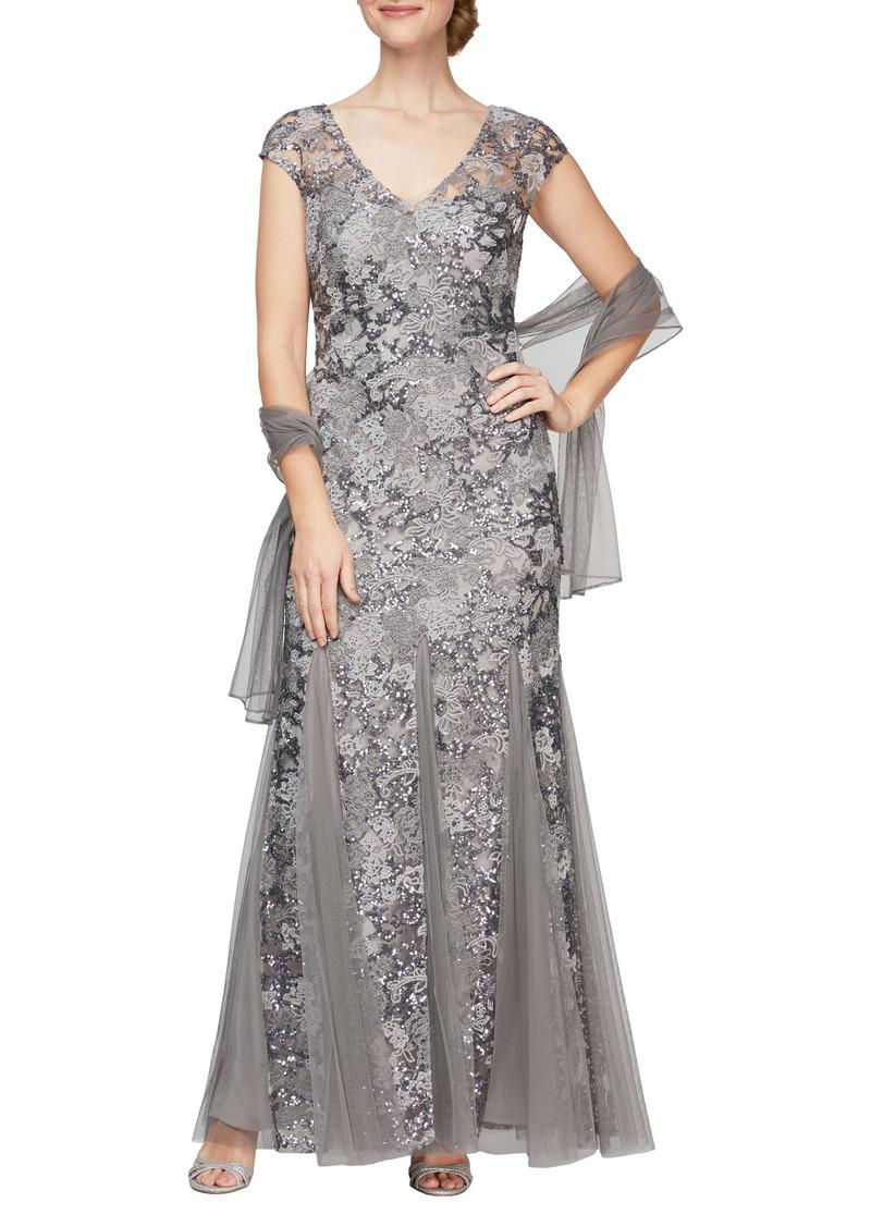 Alex Evenings Sequin Embroidered Trumpet Gown (Regular & Petite)