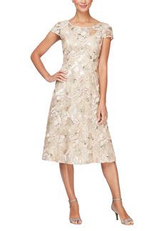 Alex Evenings Sequin Floral Cocktail Dress
