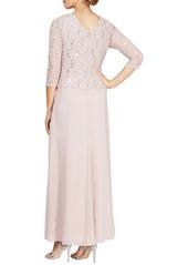 Alex Evenings Sequin Lace & Chiffon Gown (Regular & Petite)