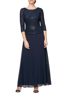 Alex Evenings Sequin Lace & Chiffon Mock Two-Piece Gown