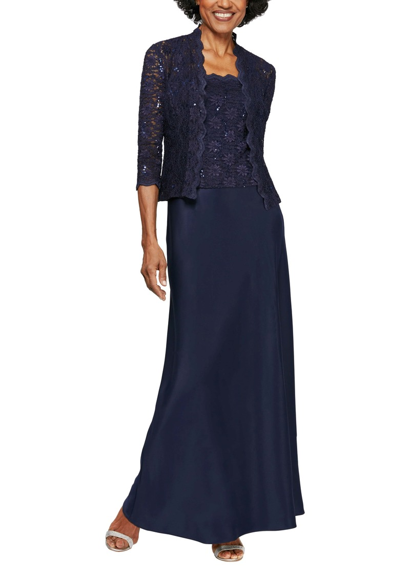 Alex Evenings Sequin Lace & Satin Gown with Jacket (Regular & Petite)