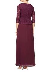 Alex Evenings Sequin Lace Mock Two-Piece Gown (Regular & Petite)