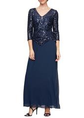 Alex Evenings Sequin Mock Two-Piece Dress