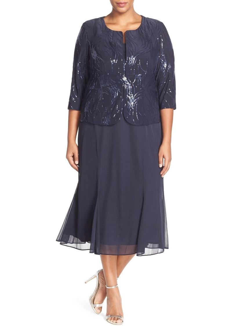 Alex Evenings Sequin Mock Two-Piece Dress with Jacket (Plus Size)