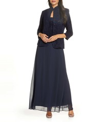 Alex Evenings Sequin Mock Two-Piece Gown with Jacket