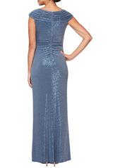 Alex Evenings Sequin Ruched Neck Sparkle Knit Gown
