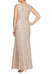 Alex Evenings Sequin Trumpet Gown with Shawl