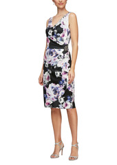 Alex Evenings Side Ruched Cocktail Dress (Regular & Petite)