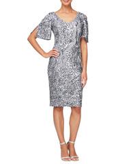Alex Evenings Slit Sleeve Sequin Cocktail Dress