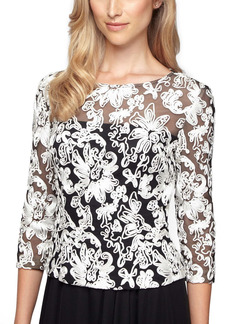 Alex Evenings Soutache Tulle Blouse