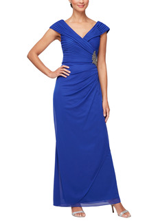 Alex Evenings Sparkle Appliqué Pleated Column Gown