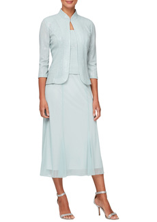 Alex Evenings Sparkle Mock Two-Piece Midi Cocktail Dress with Jacket