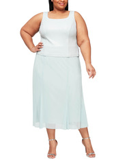 Alex Evenings Sparkle Mock Two-Piece Midi Cocktail Dress with Jacket (Plus Size)