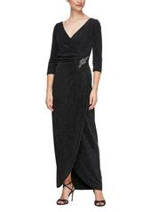 Alex Evenings Surplice Metallic Knit Dress