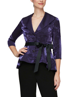 Alex Evenings Three Quarter Sleeve Velvet Blouse
