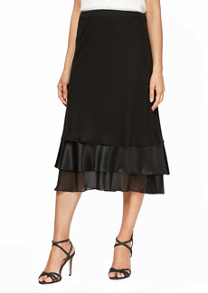 Alex Evenings Tiered Chiffon & Satin Midi Skirt