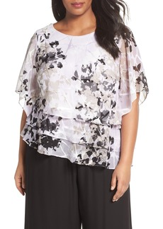 Alex Evenings Tiered Chiffon Top (Plus Size)