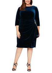Alex Evenings Velvet Long Sleeve Sheath Dress (Plus Size)