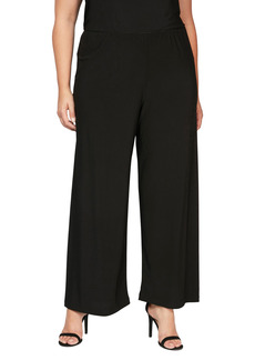 Alex Evenings Wide Leg Matte Jersey Pants (Plus Size)