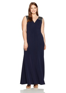 Alex Evenings Women's Plus-Size Long Fit and Flare Dress with Beaded Illusion Straps