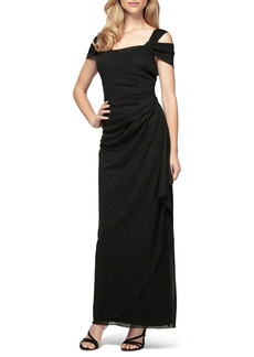 Petite Women's Alex Evenings Cold Shoulder Ruffle Glitter Gown