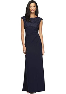 Alex Evenings Long Cap Sleeve Empire Waist Dress with Embroidered Lace Bodice