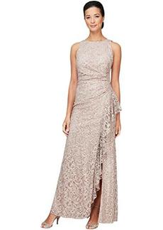 Alex Evenings Long Sleeveless Sequin Lace Dress with Ruffle Detail Skirt