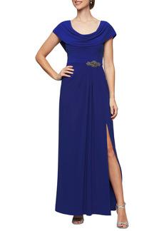 Women's Alex Evenings Cowl Neck Beaded Waist Gown