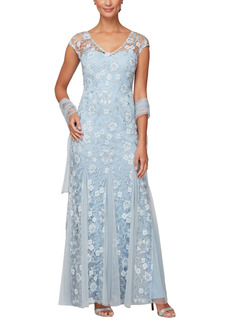 Petite Women's Alex Evenings Floral Embroidered A-Line Gown With Shawl