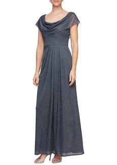Petite Women's Alex Evenings Glitter Cowl Neck A-Line Gown