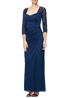 Petite Women's Alex Evenings Lace Yoke & Sleeves Ruched Gown