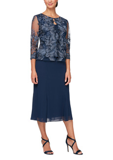 Petite Women's Alex Evenings Mock Jacket Midi Dress