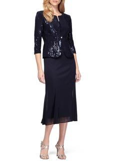 Women's Alex Evenings Sequin Midi Dress With Jacket