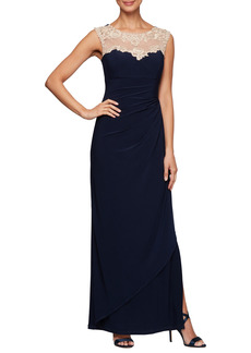 Petite Women's Alex Evenings Side Ruched Gown