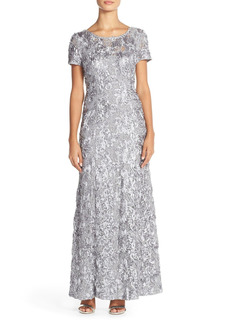 Petite Women's Alex Evenings Embellished Lace A-Line Gown