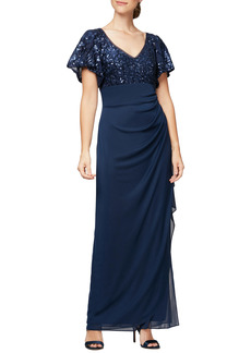 Women's Alex Evenings Sequin Lace & Ruched Chiffon Gown